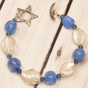 vtg glass bead star crescent moon toggle bracelet